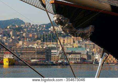 Figurehead Decoration In The Vessel On The Docks