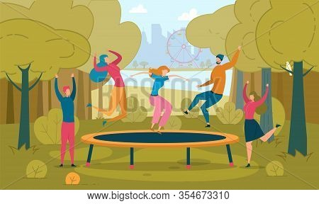 Friends Jumping On Trampoline Flat Illustration. People Having Fun Together. Happy Male And Female C