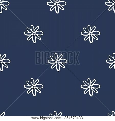Repeat Flower Pattern. Navy Blue Background. White Daisies. Seamless Floral Simple Pattern. Stylish