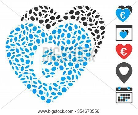 Dotted Mosaic Based On Euro Favorites Hearts. Mosaic Vector Euro Favorites Hearts Is Formed With Ran