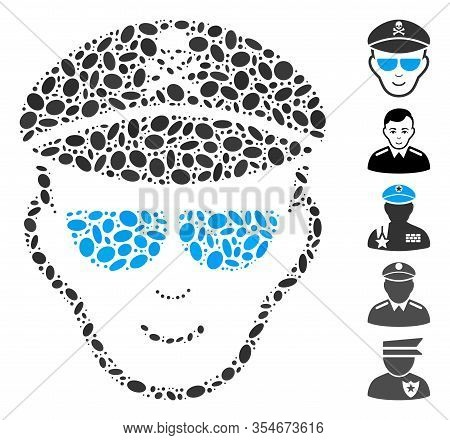Dot Mosaic Based On Evil Soldier Face. Mosaic Vector Evil Soldier Face Is Composed With Random Oval