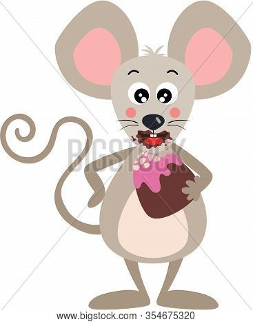 Scalable Vectorial Representing A Greedy Mouse Eating A Bonbon, Element For Design, Illustration Iso