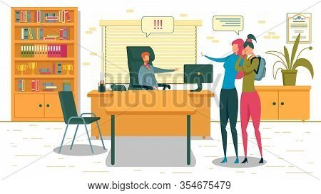 Female Student And Mother Standing At Deans Office Flat Cartoon Vector Illustration. Girl With Backp