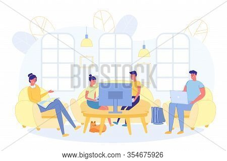 Family Resting Together At Weekend In Living Room. Whole Family Gathered In Spacious Room. Children
