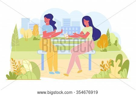 Giving Up Bad Habits At Young Age, Flat Banner. Friends Walk In Park And Sat On Bench. One Offer Oth