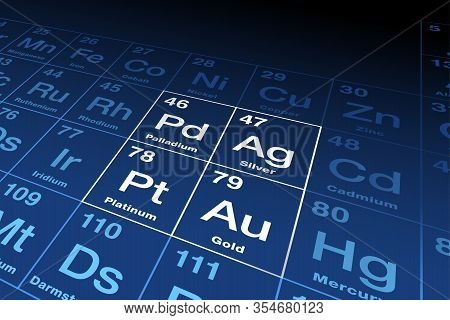 Precious Metals On Periodic Table. Gold, Silver, Platinum And Palladium, Chemical Elements With A Hi