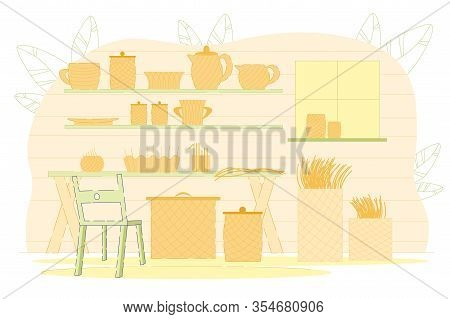 Wickerwork Making Flat Cartoon Vector Illustration. Collection With Various Weaving Hampers, Baskets