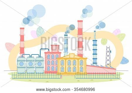 Industrial Zone With Factory Plant Building Design. Nuclear Power Plants Or Chemical Industry. Ironw