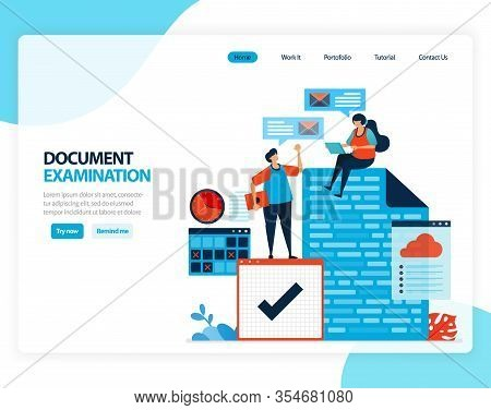Vector Illustration Of Document Examination. Checking Legal Document For Recording, Taxation, Bankin