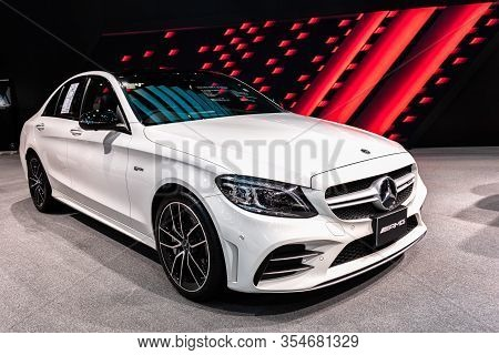 Bangkok, Thailand - March 9, 2020 : The  Mercedes Amg C43 4matic  Is A Compact Executive Car Which I