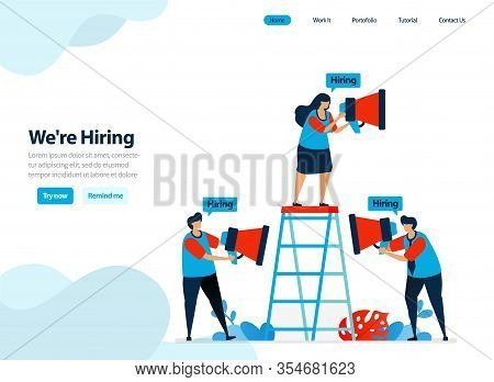 Website Design Of Hire And Employee Recruitment. Were Hiring For Company Landing Page. Job Seeker, C