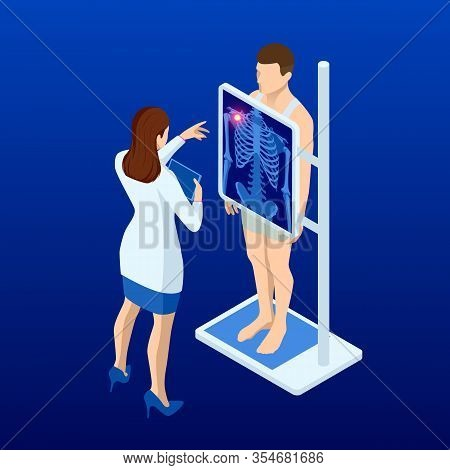 Isometric X-ray Machine For Scanning Human Body. Doctor Checking Examining Chest X-ray Film Of Patie