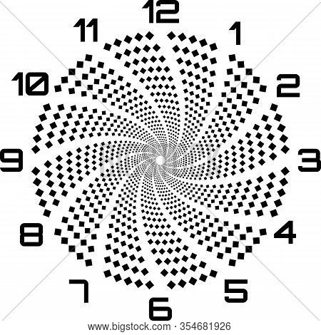 Clock Dial Black Big Numbers Diamond Fan Like Swirl Signs Pointing Negative Space For Seconds On Tra