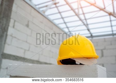 Helmet In Construction Site And Construction Site Background Safety First Concept,construction Light