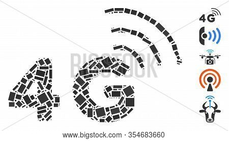 Dotted Mosaic Based On 4g. Mosaic Vector 4g Is Formed With Scattered Rectangular Elements. Bonus Ico