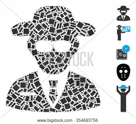 Dotted Mosaic Based On Secure Agent. Mosaic Vector Secure Agent Is Designed With Random Rectangle Do