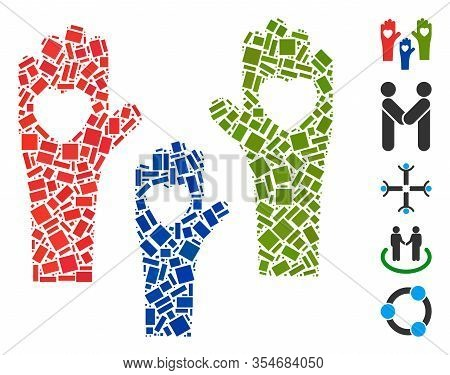 Dotted Mosaic Based On Tolerance Hands. Mosaic Vector Tolerance Hands Is Designed With Scattered Rec