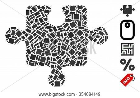 Dot Mosaic Based On Puzzle Piece. Mosaic Vector Puzzle Piece Is Designed With Scattered Rectangular