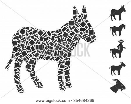 Dotted Mosaic Based On Donkey. Mosaic Vector Donkey Is Formed With Scattered Rectangle Spots. Bonus