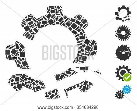 Dot Mosaic Based On Gear Destruction. Mosaic Vector Gear Destruction Is Designed With Scattered Rect