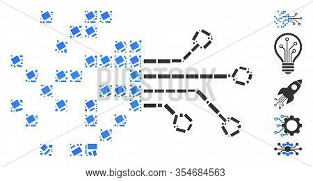 Dot Mosaic Based On Digital Circuit Transformation. Mosaic Vector Digital Circuit Transformation Is