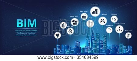 Building Information Modeling Vector Illustration. Bim Concept Infographic, With Icons And Keywords.
