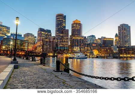 Amazing View Of City Of Boston During Sunset From Seaport Harbor Boston Usa
