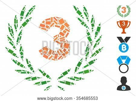 Dotted Mosaic Based On Third Laurel Wreath. Mosaic Vector Third Laurel Wreath Is Created With Random