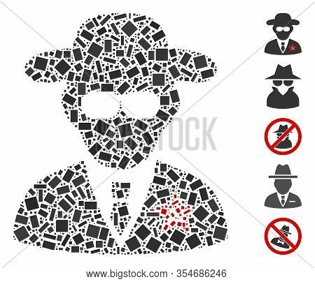 Dotted Mosaic Based On Kgb Spy. Mosaic Vector Kgb Spy Is Designed With Scattered Rectangle Dots. Bon