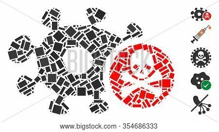 Dotted Mosaic Based On Microbe Antibiotic. Mosaic Vector Microbe Antibiotic Is Created With Scattere