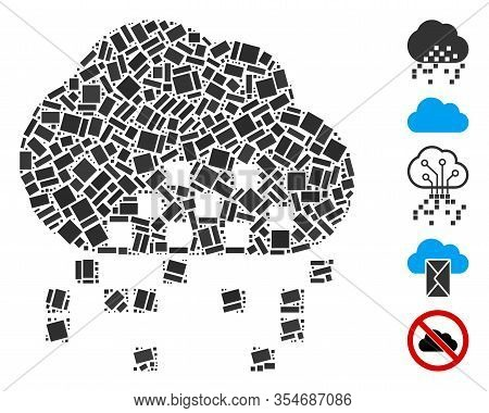 Dotted Mosaic Based On Cloud Dissipation. Mosaic Vector Cloud Dissipation Is Created With Scattered