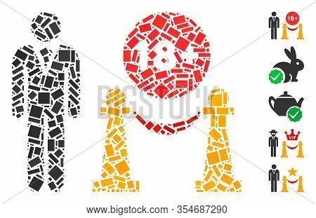 Dot Mosaic Based On For Adults Only. Mosaic Vector For Adults Only Is Formed With Random Rectangle I