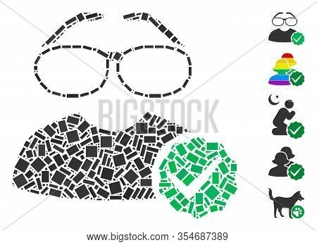 Dotted Mosaic Based On For Clevers. Mosaic Vector For Clevers Is Designed With Scattered Rectangle D