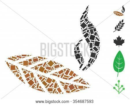 Dotted Mosaic Based On Smoking Tobacco Leaf. Mosaic Vector Smoking Tobacco Leaf Is Created With Scat