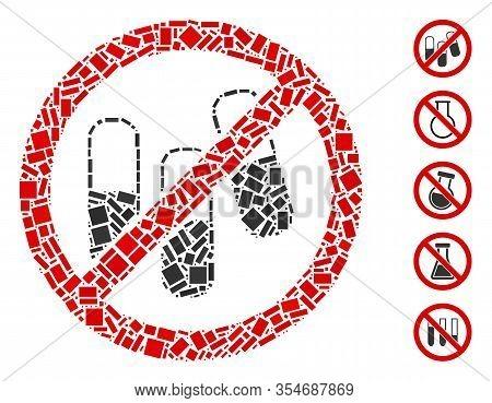 Dot Mosaic Based On No Medical Granules. Mosaic Vector No Medical Granules Is Designed With Randomiz