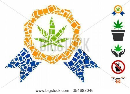 Dot Mosaic Based On Cannabis Legalize. Mosaic Vector Cannabis Legalize Is Created With Random Rectan