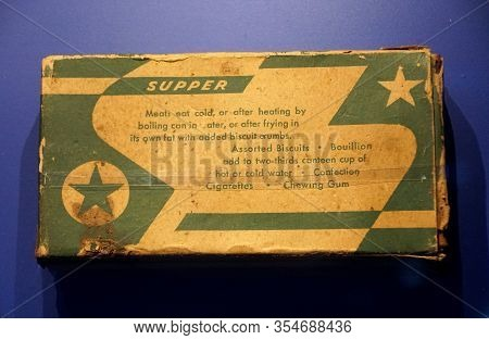 New Orleans, Louisiana, U.s.a - February 4, 2020 - The Box Of Supper Ration Type K, The Individual D