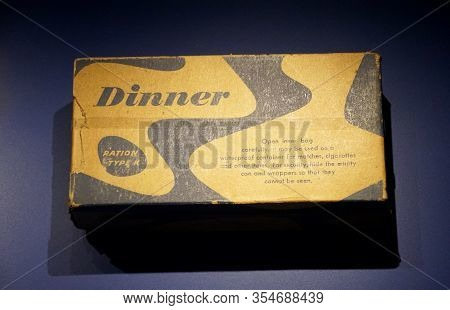 New Orleans, Louisiana, U.s.a - February 4, 2020 - The Box Of Dinner Ration Type K, The Individual D