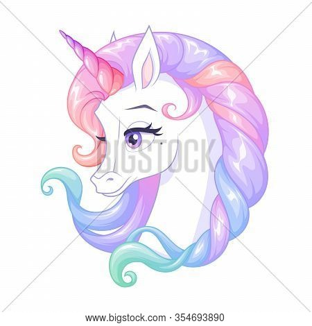 Beautiful White Unicorn With Pink Horn And Colorful Mane. Isolated Vector Illustration.