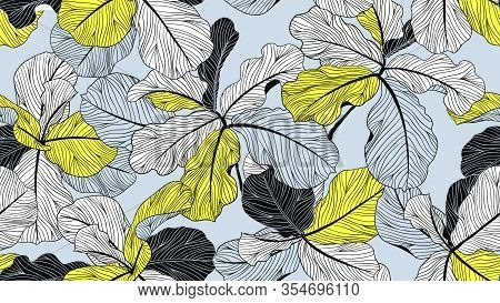 Floral Seamless Pattern, Fiddle Leaf Fig On Grey Background, Line Art Ink Drawing, Yellow And Black