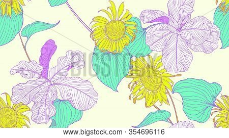 Floral Seamless Pattern, Colorful Fiddle Leaf Fig And Sunflower On Light Yellow Background, Line Art
