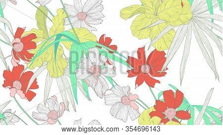 Floral Seamless Pattern, Colorful Fiddle Leaf Fig, Palm Leaves And Cosmos Flowers On White Backgroun