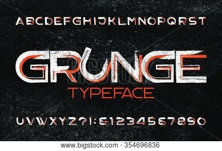 Grunge Alphabet Font. Muddy Uppercase Letters And Numbers. Halftone Background. Vector Typescript Fo