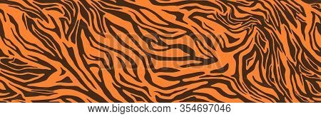 Tiger Or Zebra Fur Repeating Texture. Animal Skin Stripes, Jungle Wallpapers. Seamless Vector Patter