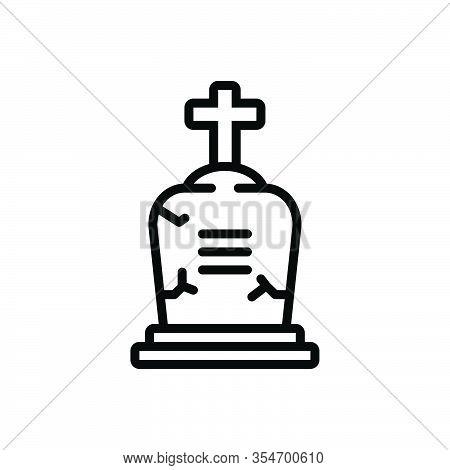 Black Line Icon For Death Decease Quietus Mortality Inanimation Grave Gravestone Cemetery