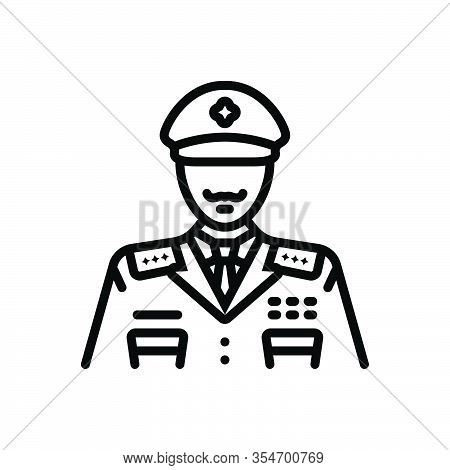 Black Line Icon For General Widespread Police Man Policeman Officer Avatar Detective Enforcement