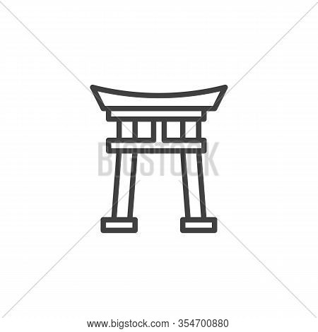 Shinto Shrine Line Icon. Linear Style Sign For Mobile Concept And Web Design. Torii Gate Outline Vec