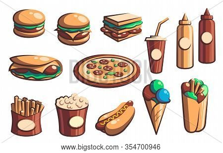 Fast Food Retro Icons With Vector Burgers, Drinks And Desserts. Hamburger, Pizza, Hot Dog And Sandwi