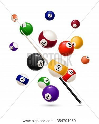 Billiard Balls And Cue Realistic Design Of Sport Game. Vector Snooker Or Pool Billiard Equipment Of