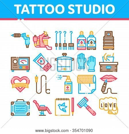 Tattoo Studio Tool Collection Icons Set Vector. Tattoo Studio Machine And Razor Equipment, Chair And